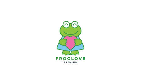 frog or toad with  love or heart cute cartoon    icon illustration vector