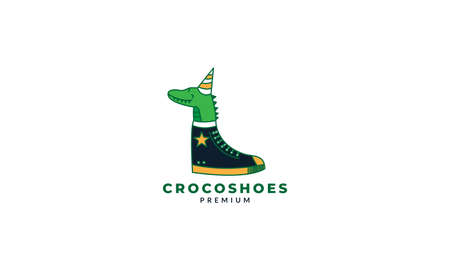 crocodile or alligator with shoes   vector illustration
