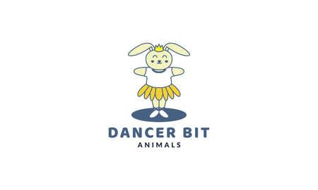 rabbit or bunny or pet as dancer cute cartoon   vector  illustration