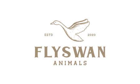 swan fly engraved vintage logo vector illustration design 向量圖像