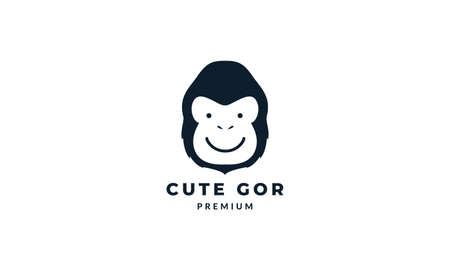 gorilla or monkey head face cute happy logo vector illustration design