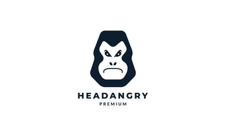 gorilla  head angry face modern logo vector illustration design