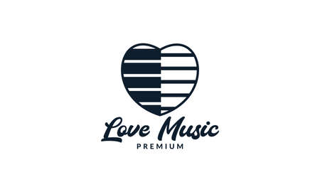 piano music with love or heart modern logo vector illustration design
