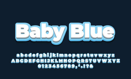 blue soft with white 3d font effect or text styles design