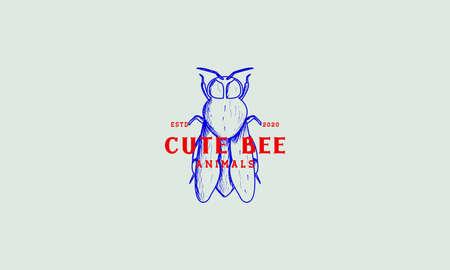 bee honey engraved vintage color logo vector illustration design