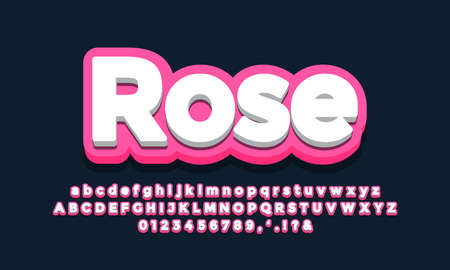 rose with white 3d font effect or text effect design 矢量图像
