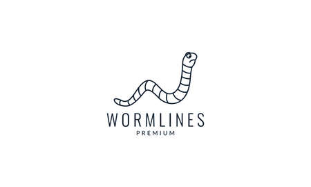 worm cute line art outline  logo vector icon illustration design