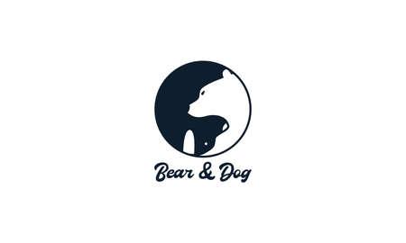 bear head with dog head circle logo vector icon illustration design