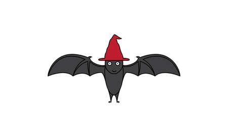 bat with hat cute cartoon happy  logo vector  illustration design