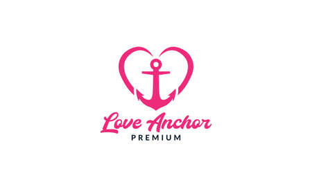 anchor with love or heart logo vector icon illustration