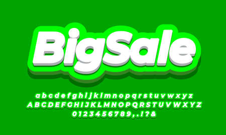 Big Sale discount promotion text 3d green light