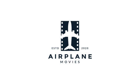airplane with movie transportation logo vector icon design