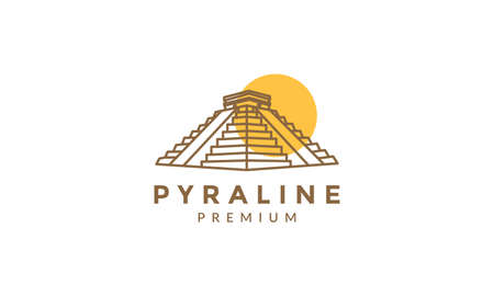 pyramid vintage line with sunset logo vector icon illustration