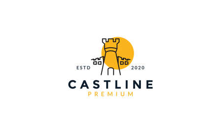 castle line outline with sunset logo vector icon illustration 矢量图像