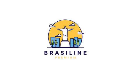 rio de janeiro statue abstract with city  logo vector icon illustration