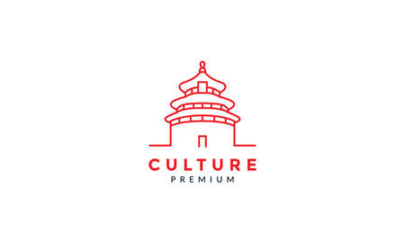 Asian Chinese Classic House Ancient Architecture line logo vector icon illustration 向量圖像