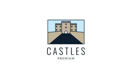 square frame castle modern logo vector icon illustration