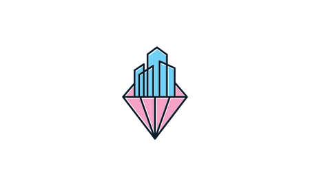 diamond with building skyscraper logo vector icon illustration design