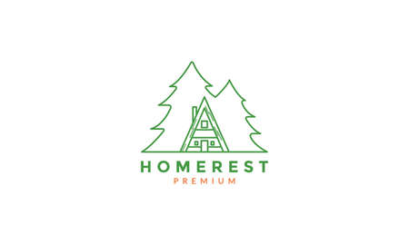 pine or cypress tree with home forest line  logo vector icon illustration design