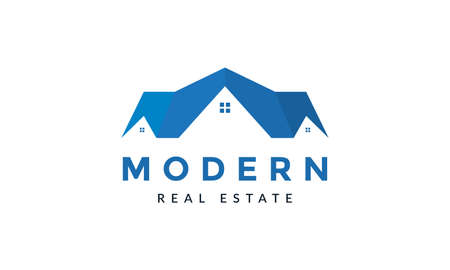 home house real estate modern flat roof logo vector icon illustration design