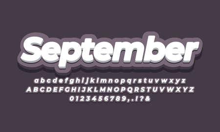 September month text  3d dark design
