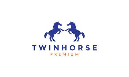 animal twin horse jumping silhouette logo vector icon illustration design