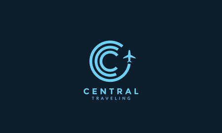 letter C or circle lines with airplane fly travel transportation logo icon vector illustration design