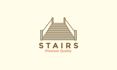 simple  stairs vintage  logo vector icon design illustration