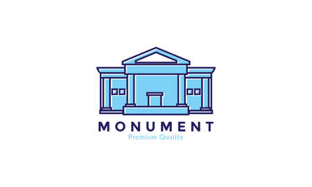 simple monument line modern colorful logo vector icon design illustration