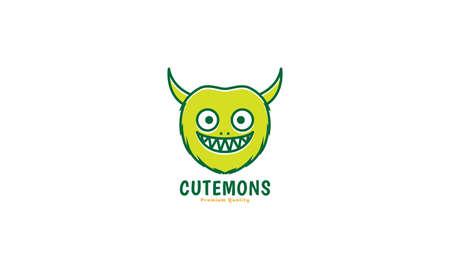 cute cartoon monster happy smile head with horn green logo vector icon illustration design