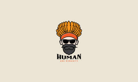 old man with Indian Headdresses colorful logo vector design illustration