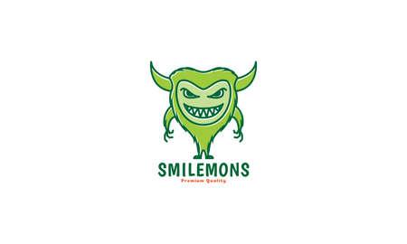 cute cartoon monster happy green smile fat logo vector icon illustration design Иллюстрация