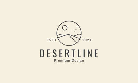 landscape desert with moon line logo vector icon symbol graphic design illustration