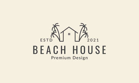 simple lines house and coconut tree logo vector icon symbol design graphic illustration Logo