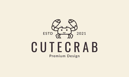cartoon lines crabs happy logo design vector icon symbol illustration