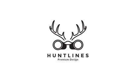 binoculars with horn hunt logo design vector icon symbol illustration