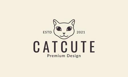 pets cat head fat lines cute logo design vector icon symbol graphic illustration