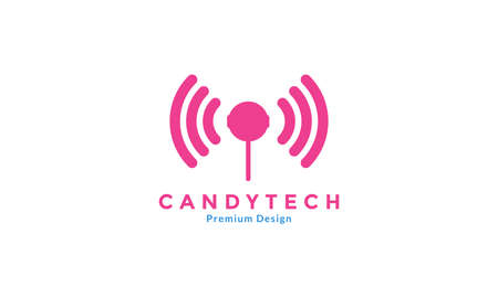 lollipop candy with technology logo design vector icon symbol graphic illustration