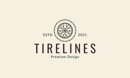 car tire line with wheel rim logo design vector icon symbol graphic illustration