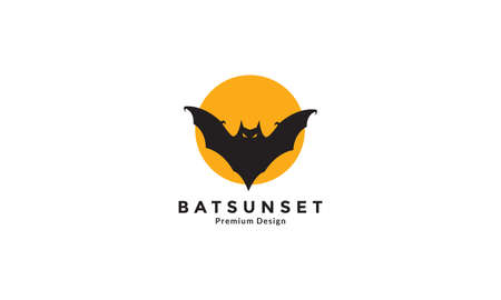 black bat fly with sunset logo design vector icon symbol graphic illustration