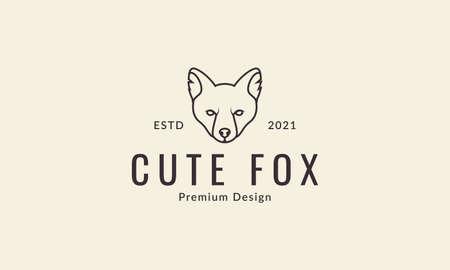 animal head fox lines cool logo design vector icon symbol graphic illustration