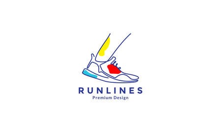 lines art abstract color shoes run logo design vector icon symbol illustration