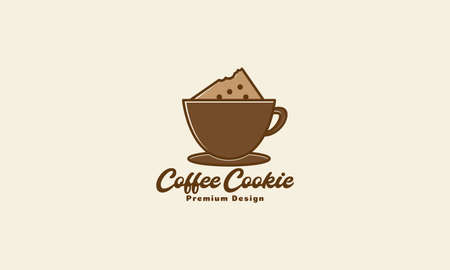 coffee or chocolates cup with cookie logo design vector icon symbol illustration