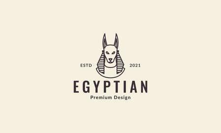 egypt anubis dog lines vector symbol icon illustration design