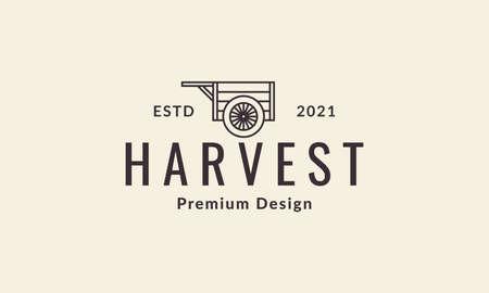 wooden cart lines logo vector symbol icon design illustration