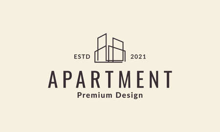 modern lines apartment architecture logo vector symbol icon design illustration