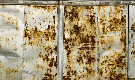 Element Rusty Painted Metal Garage With Rivets. Corrosion, Grunge. Texture, Background Series.