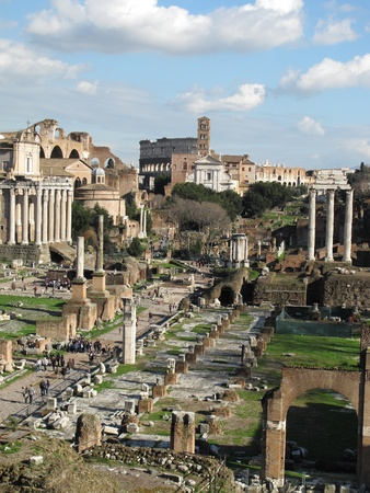 landscape of roman ancient ruines of Foro Romano from capitolium Hill photo