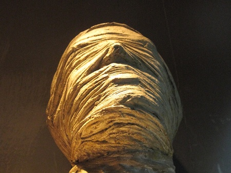 egyptian mummy: statue used in a cinematographic set horror