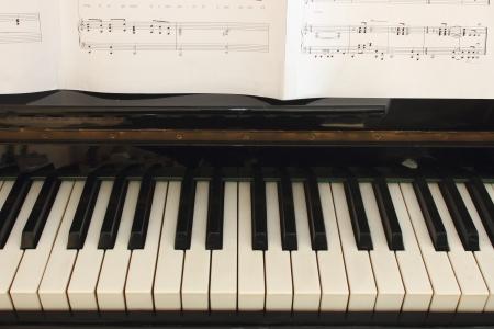 Portion of piano keyboard and sheetmusic